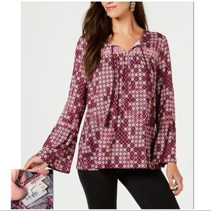 STYLE & CO   NWT   Printed Peasant Top 100043612MS